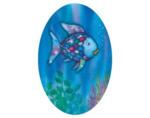 Produktfoto Leinwandbild Oval Der Regenbogenfisch - Allein im weiten Meer