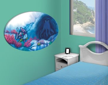 Immagine del prodotto Stampa su tela ovale The Rainbow Fish - Octopus In Cave