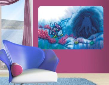 Produktfoto Selbstklebendes Wandbild Der Regenbogenfisch - Tintenfisch in der Höhle