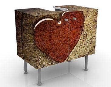 Produktfoto Waschbeckenunterschrank - Natural Love - Badschrank Braun Rot