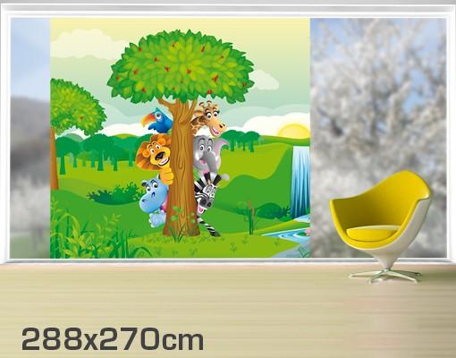 Produktfoto Fensterfolie - XXL Fensterbild No.BF1 Dschungeltiere - Fenster Sichtschutz