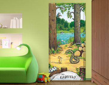 Produktfoto Der Grüffelo - Kinderzimmer Türtapete selbstklebend - Wald Tapete Grüffelo - Die Maus trifft die Schlange