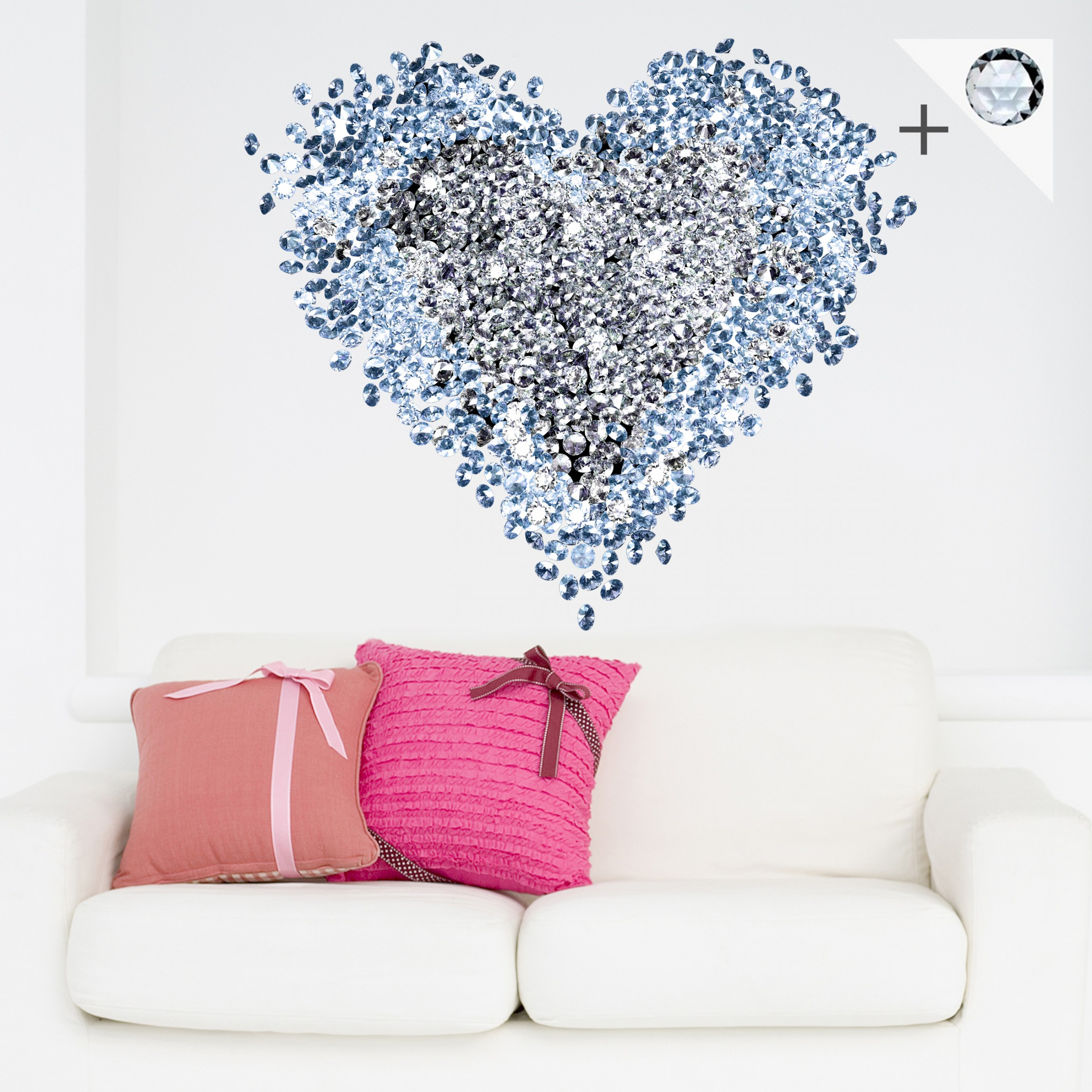 Adesivo Murale No 421 Diamond Heart 15 Crystallized