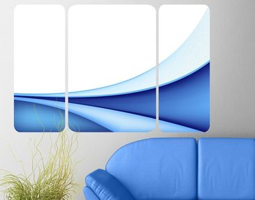 Product picture Wall Mural Blue Waving Way Triptych II