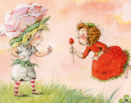 Produktfoto Pendelleuchte - Erdbeerinchen Erdbeerfee - Rosa Rose - Lampe - Lampenschirm Rot