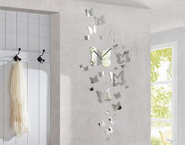 Product picture Design Wall Clock Butterflies Mirror