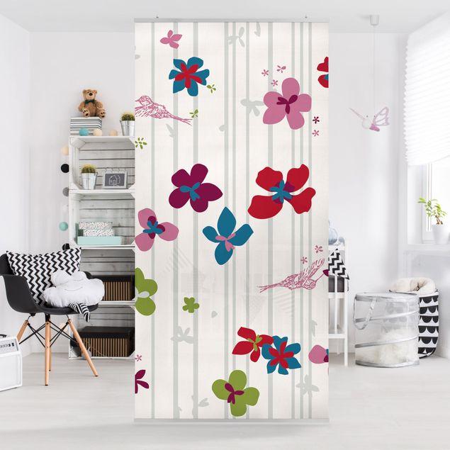 Produktfoto Raumteiler Kinderzimmer - Floral Pattern 250x120cm
