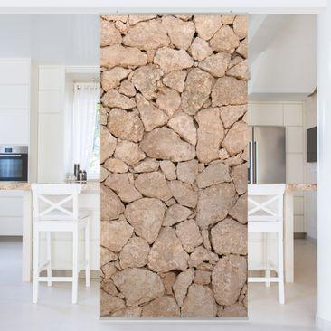 Produktfoto Raumteiler - Apulia Stone Wall - Alte Steinmauer aus großen Steinen 250x120cm