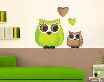 Immagine del prodotto Adesivo murale no.IR12 Owlets Full Of Love Green
