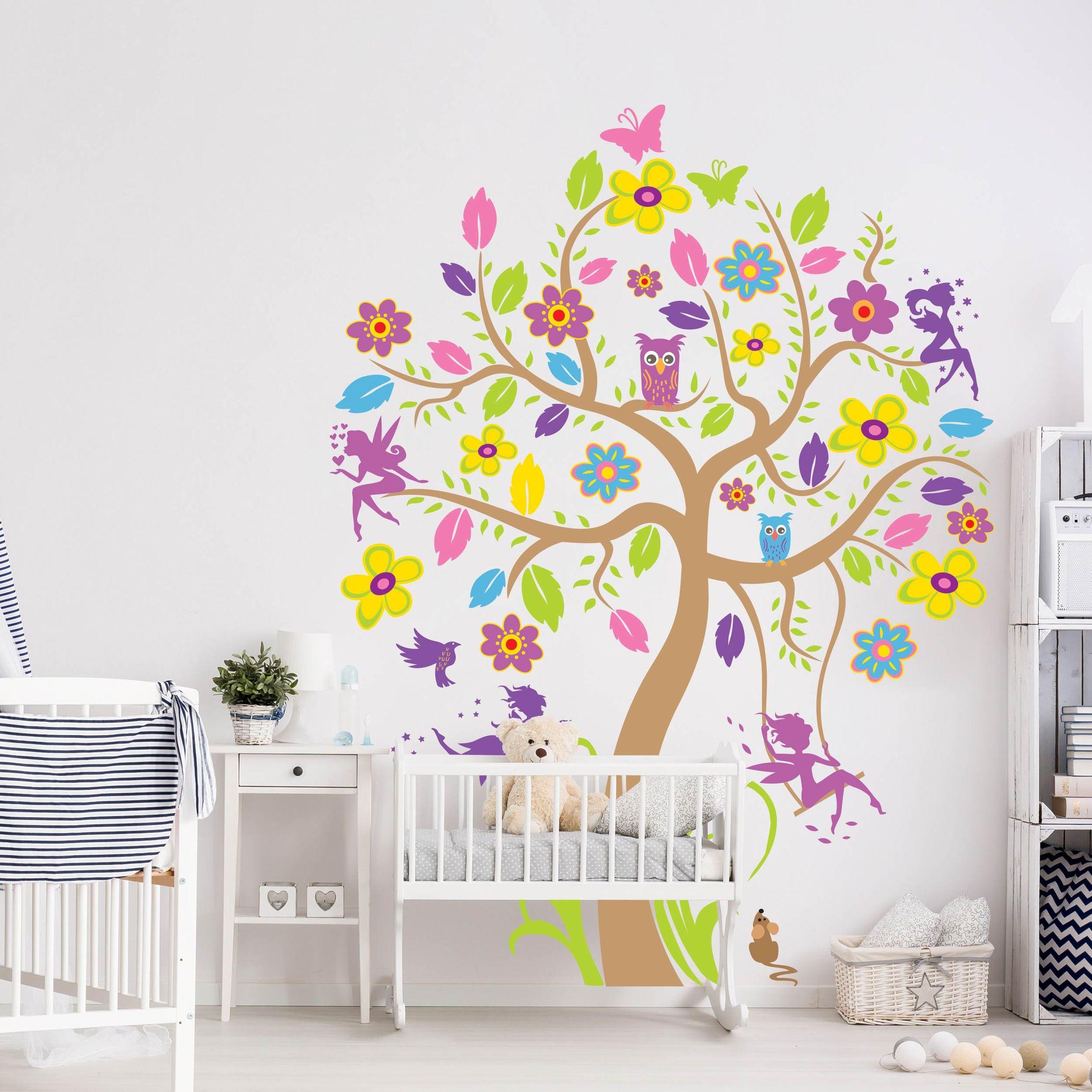 Wandtattoo Babyzimmer Wald Baum Vogel Schmetterling Eule No Bp26