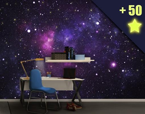 Produktfoto Selbstklebende Tapete - Fototapete Galaxie inklusive 50 Leuchtsterne