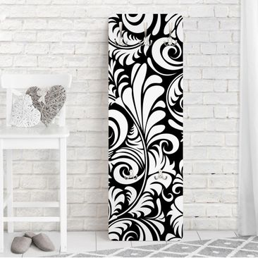 Produktfoto Garderobe - Black and White Leaves Pattern - Schwarz