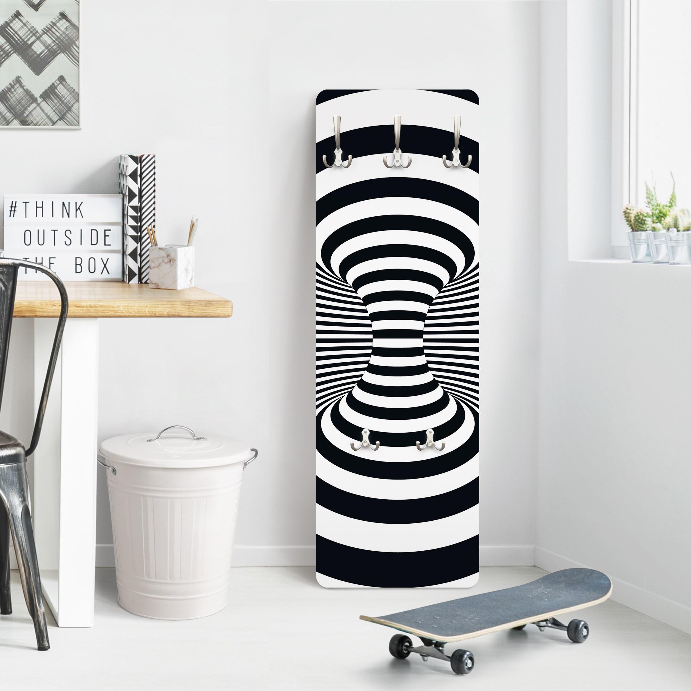 garderobe streifenmuster optischer wirbel wei schwarz. Black Bedroom Furniture Sets. Home Design Ideas