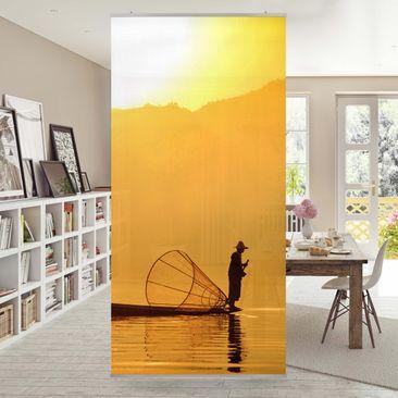 Produktfoto Raumteiler - Fischer im Sonnenaufgang 250x120cm