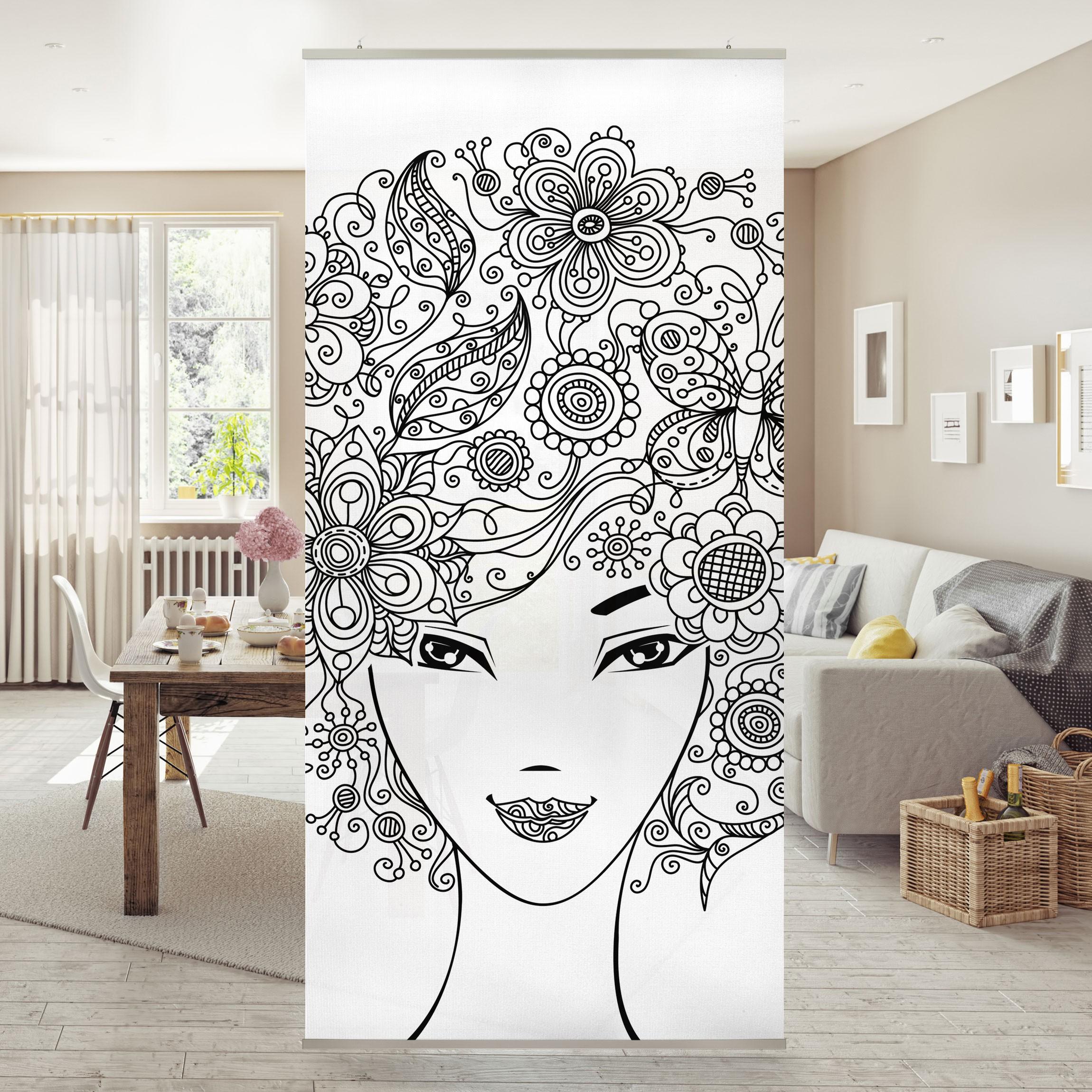 raumteiler blumen im haar 250x120cm. Black Bedroom Furniture Sets. Home Design Ideas