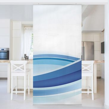 Produktfoto Raumteiler - Blue Wave Composition 250x120cm