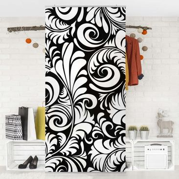 Produktfoto Raumteiler - Black and White Leaves Pattern 250x120cm