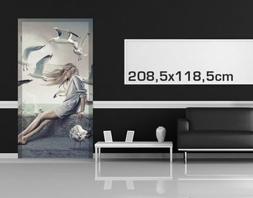 Product picture Adhesive Door-Sized Wall Mural Coffee at...