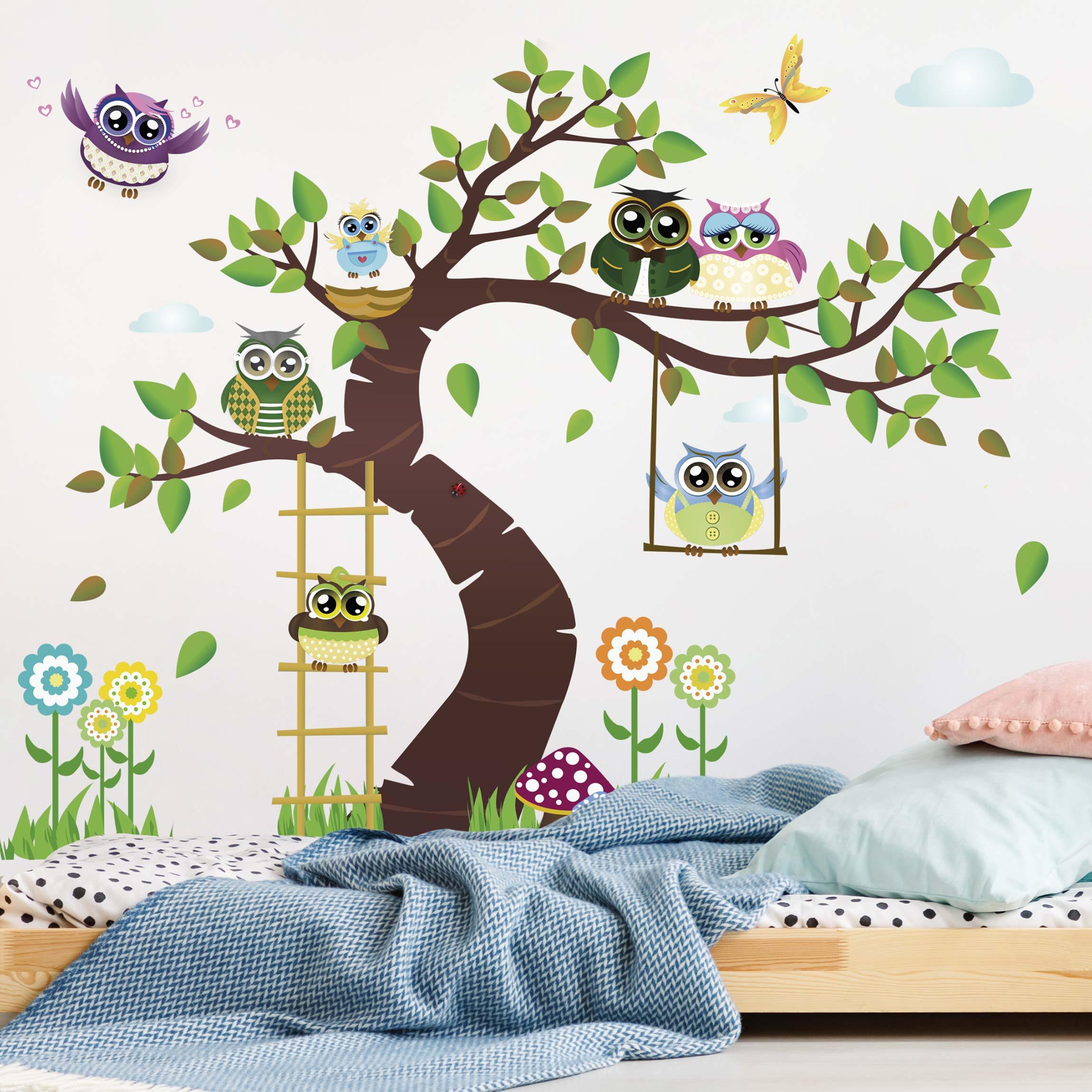 Wandtattoo Kinderzimmer Eule No YK23 Lustiger Eulenbaum