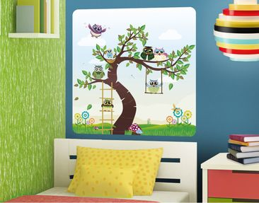 Produktfoto Wall Decal no.YK23 Funny Owl Tree