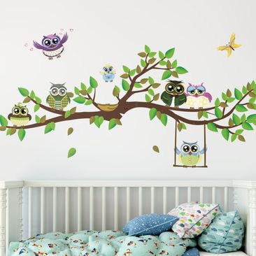 Product picture Wall Decal no.YK24 Funny Owls Branch