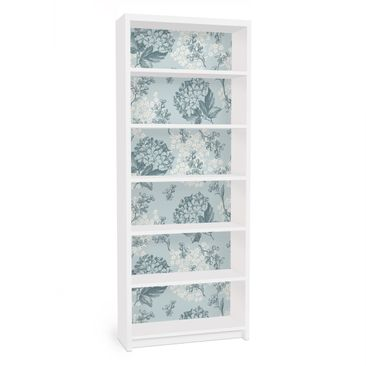 Produktfoto Möbelfolie für IKEA Billy Regal - Klebefolie Hortensia pattern in blue