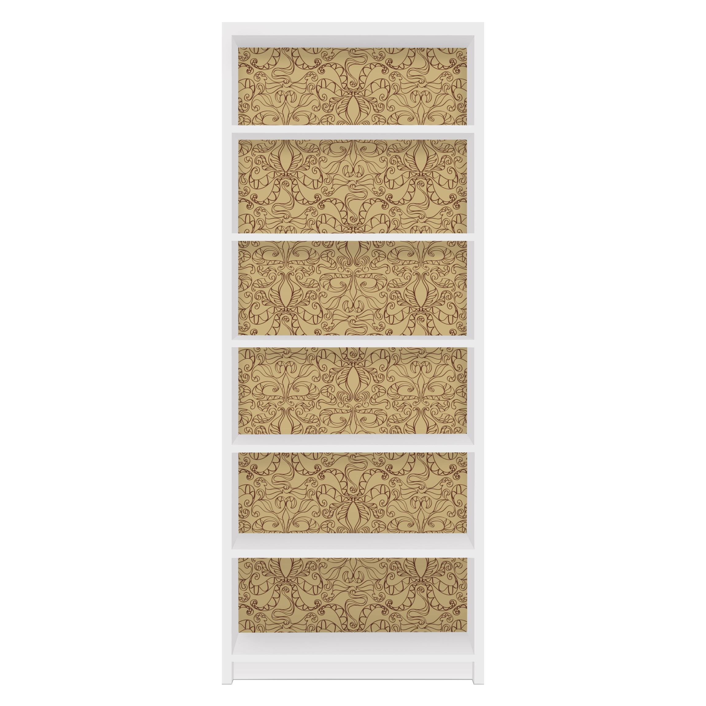 m belfolie f r ikea billy regal klebefolie spirituelles muster beige. Black Bedroom Furniture Sets. Home Design Ideas