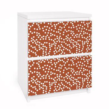 Produktfoto Möbelfolie für IKEA Malm Kommode - Selbstklebefolie Aborigine Punktmuster Braun