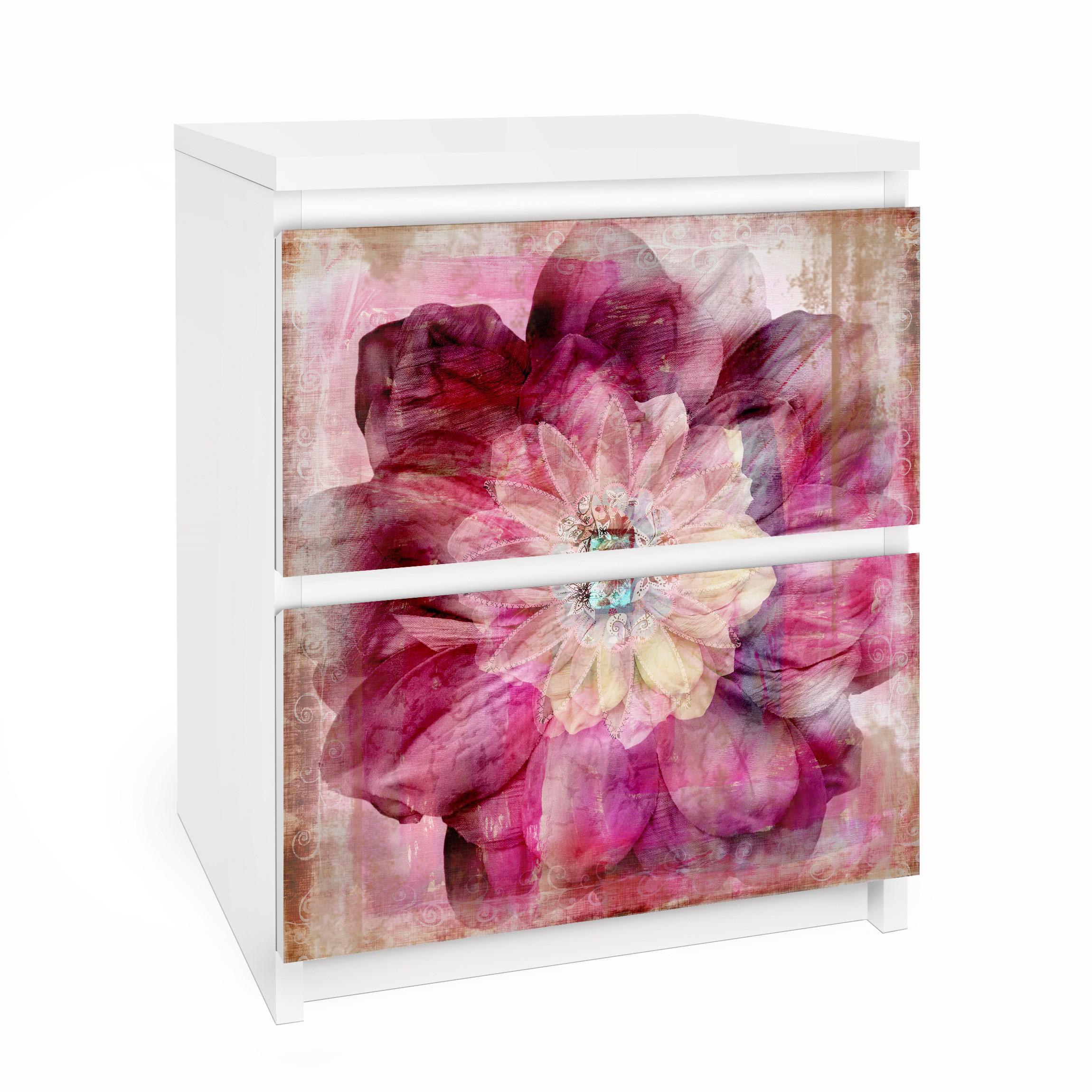 Carta adesiva per mobili ikea malm cassettiera 2xcassetti grunge flower - Pellicola adesiva per mobili ikea ...