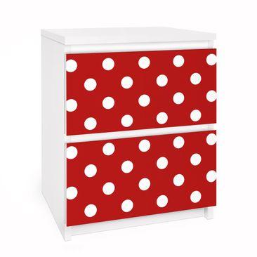 Immagine del prodotto Carta adesiva per mobili IKEA - Malm Cassettiera 2xCassetti - No.DS92 Dot Design Girly Red