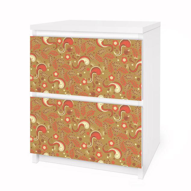 Produktfoto Möbelfolie für IKEA Malm Kommode - Selbstklebefolie Paisley Musterdesign
