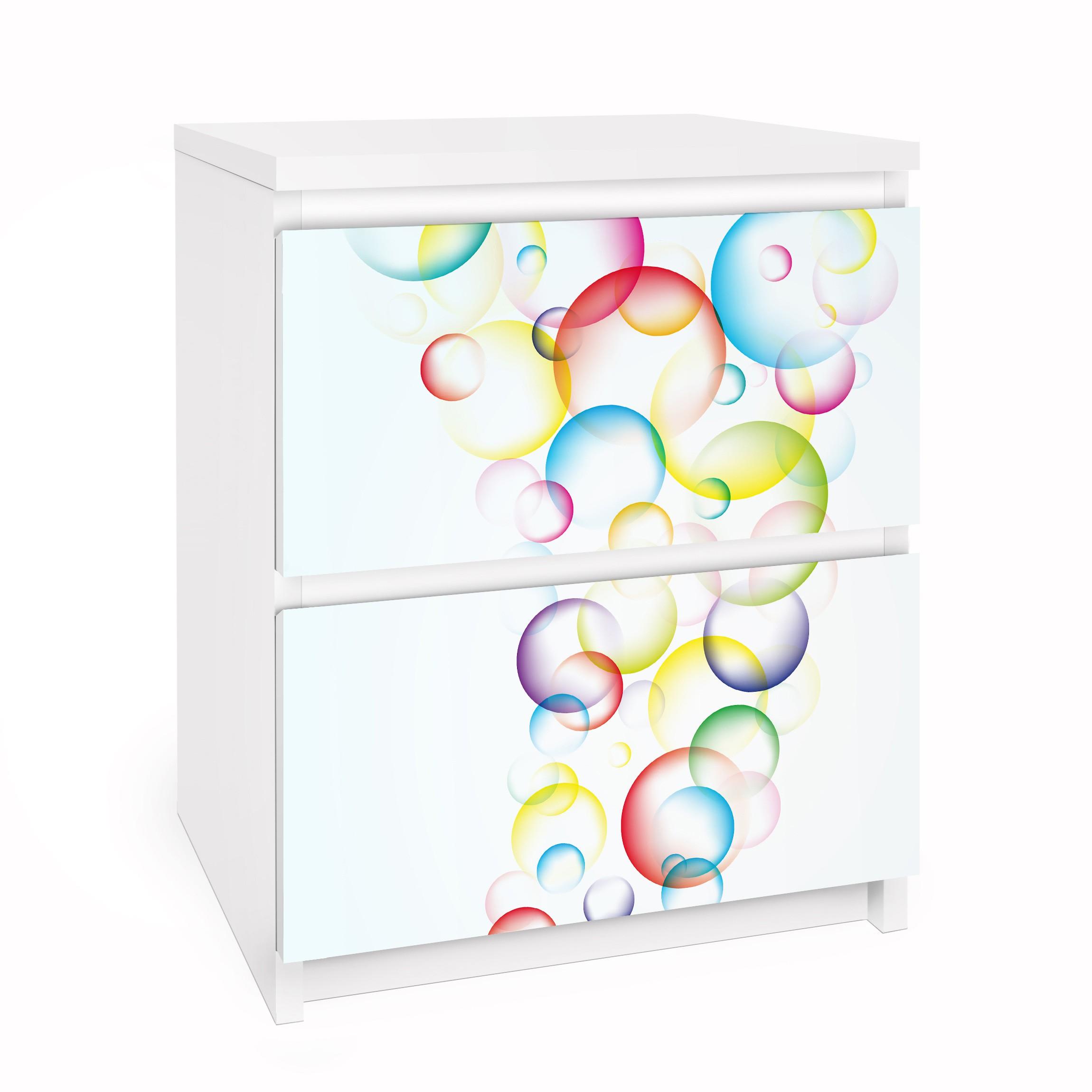 Carta adesiva per mobili ikea malm cassettiera 2xcassetti rainbow bubbles - Pellicola adesiva per mobili ikea ...