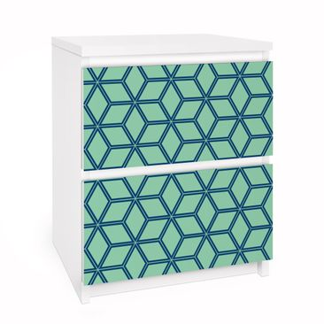 Immagine del prodotto Carta adesiva per mobili IKEA - Malm Cassettiera 2xCassetti - Cube pattern green