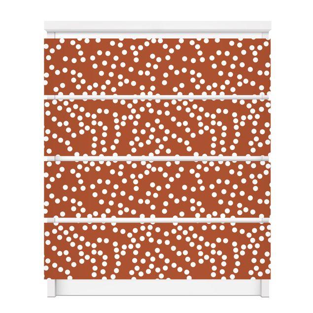 Produktfoto Möbelfolie für IKEA Malm Kommode - selbstklebende Folie Aborigine Punktmuster Braun