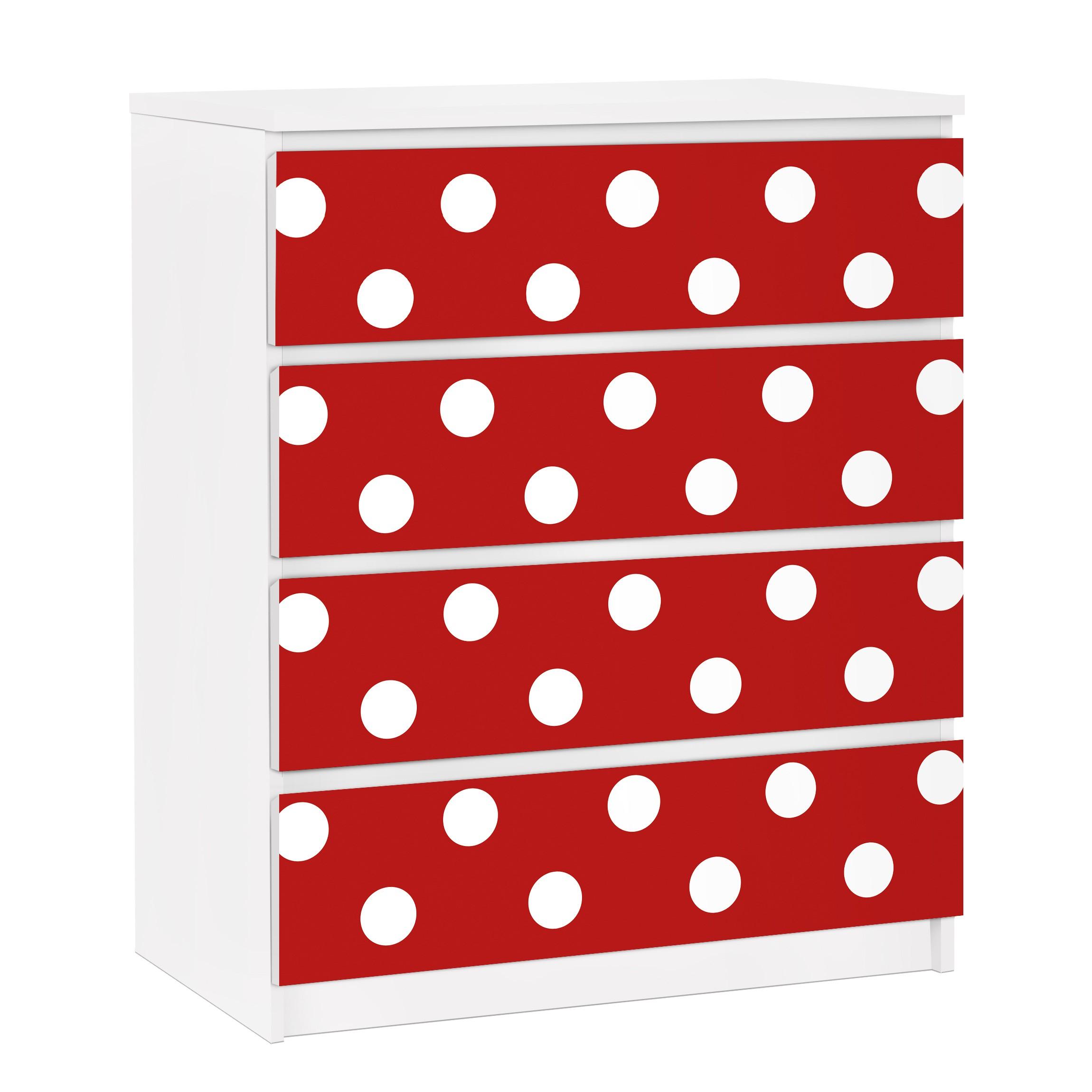 Carta adesiva per mobili ikea malm cassettiera 4xcassetti no ds92 dot design girly red - Cassettiera malm ikea 4 cassetti ...