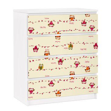 Produktfoto Möbelfolie für IKEA Malm Kommode - selbstklebende Folie Owl Howl