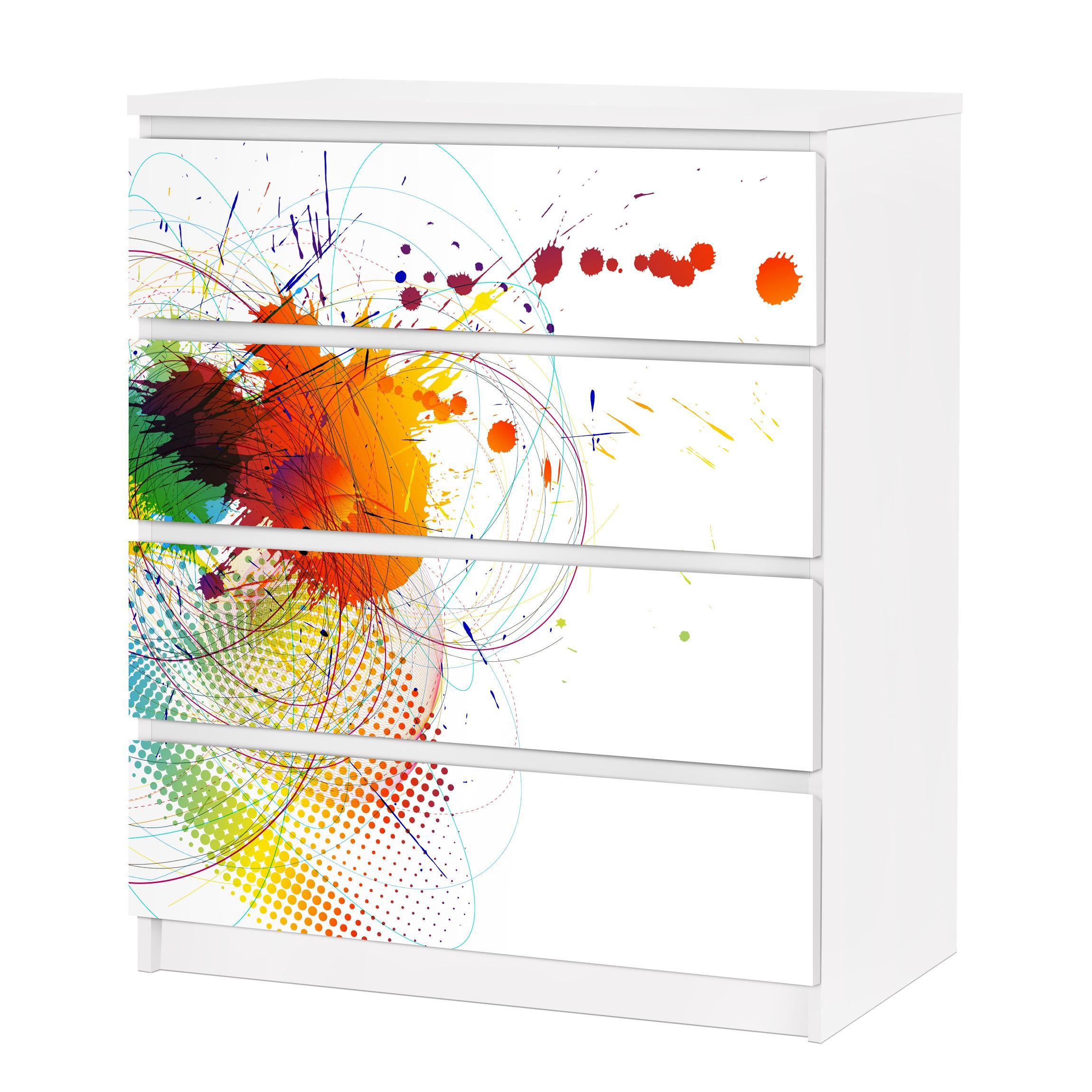 Carta adesiva per mobili ikea malm cassettiera 4xcassetti rainbow background - Carta adesiva per mobili ikea ...