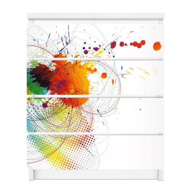 Produktfoto Möbelfolie für IKEA Malm Kommode - selbstklebende Folie Rainbow Background