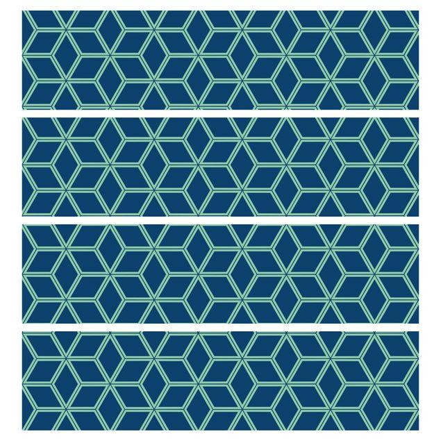 Produktfoto Möbelfolie für IKEA Malm Kommode - selbstklebende Folie Würfelmuster Blau