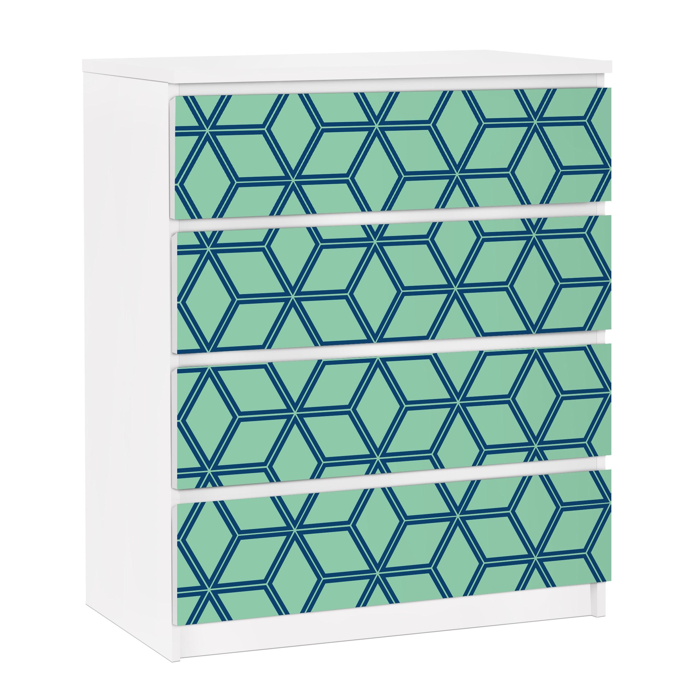 Furniture decal for ikea malm dresser 4xdrawers cube for Carta adesiva per mobili ikea