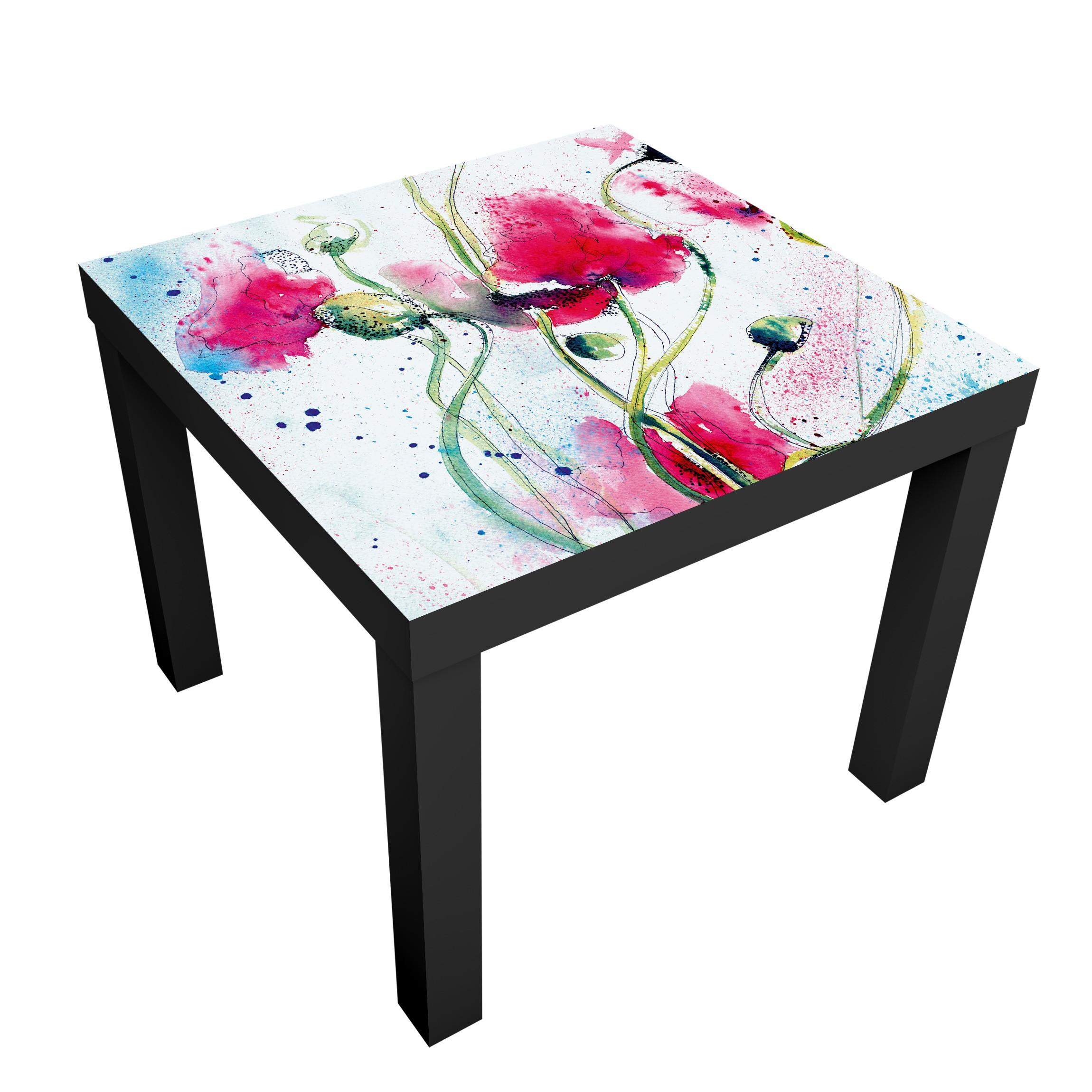Carta adesiva per mobili ikea lack tavolino painted poppies - Carte adesive per mobili ...