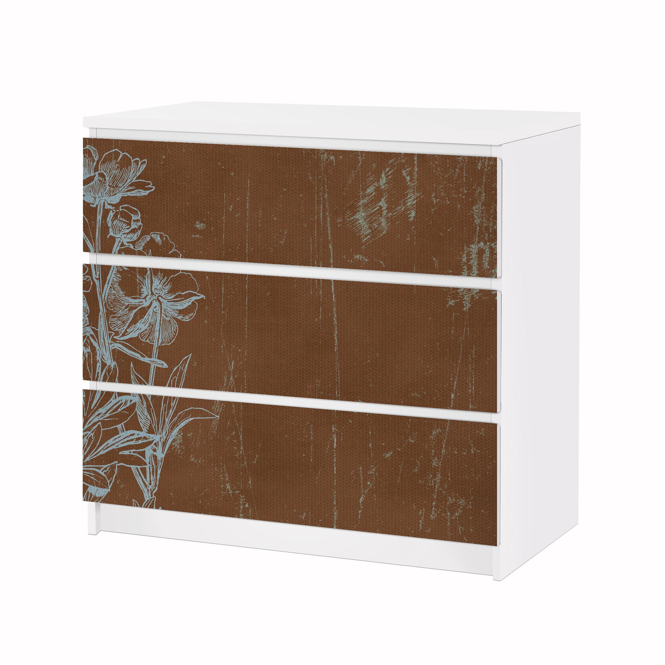 Carta adesiva per mobili ikea malm cassettiera 3xcassetti blue flowers sketch - Carta per coprire mobili ...