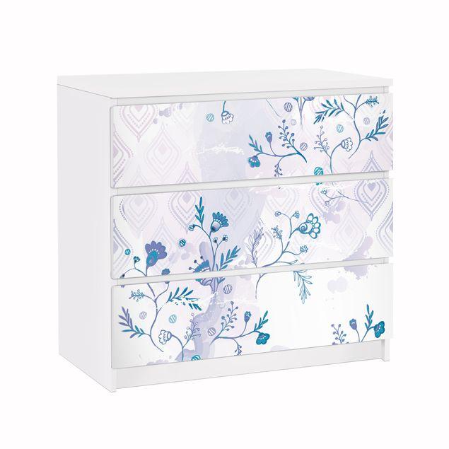 Produktfoto Möbelfolie für IKEA Malm Kommode - Klebefolie Blaues Fantasiemuster