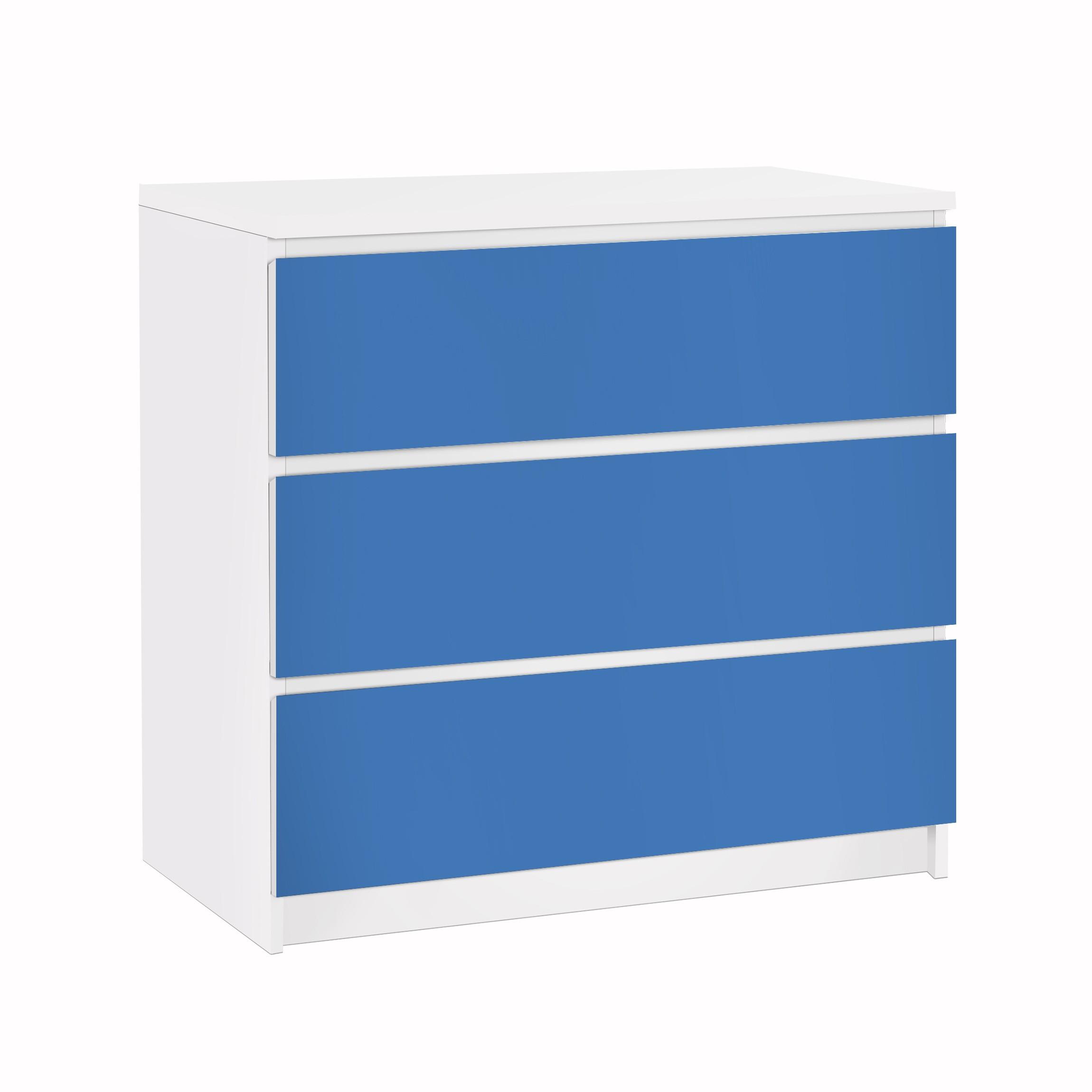 Carta adesiva per mobili ikea malm cassettiera 3xcassetti colour royal blue - Pellicola adesiva per mobili ikea ...