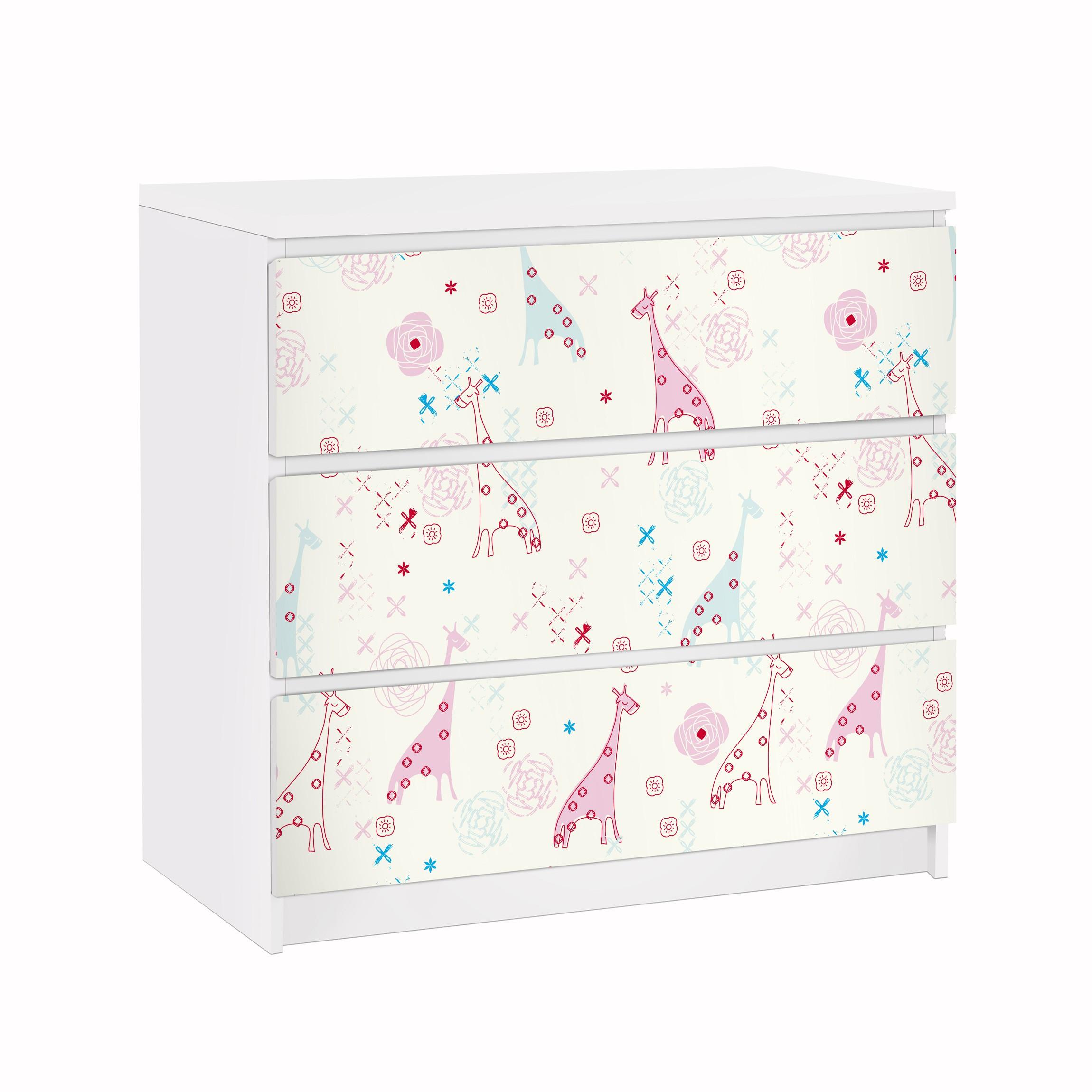 Furniture decal for ikea malm dresser 3xdrawers for Carta adesiva per mobili ikea