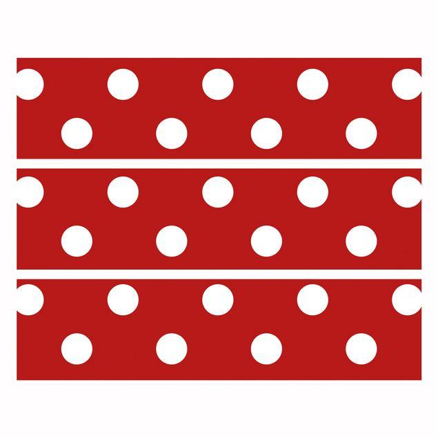 Produktfoto Möbelfolie für IKEA Malm Kommode - Klebefolie No.DS92 Punktdesign Girly Rot