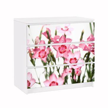 Produktfoto Möbelfolie für IKEA Malm Kommode - Klebefolie Pink Flowers