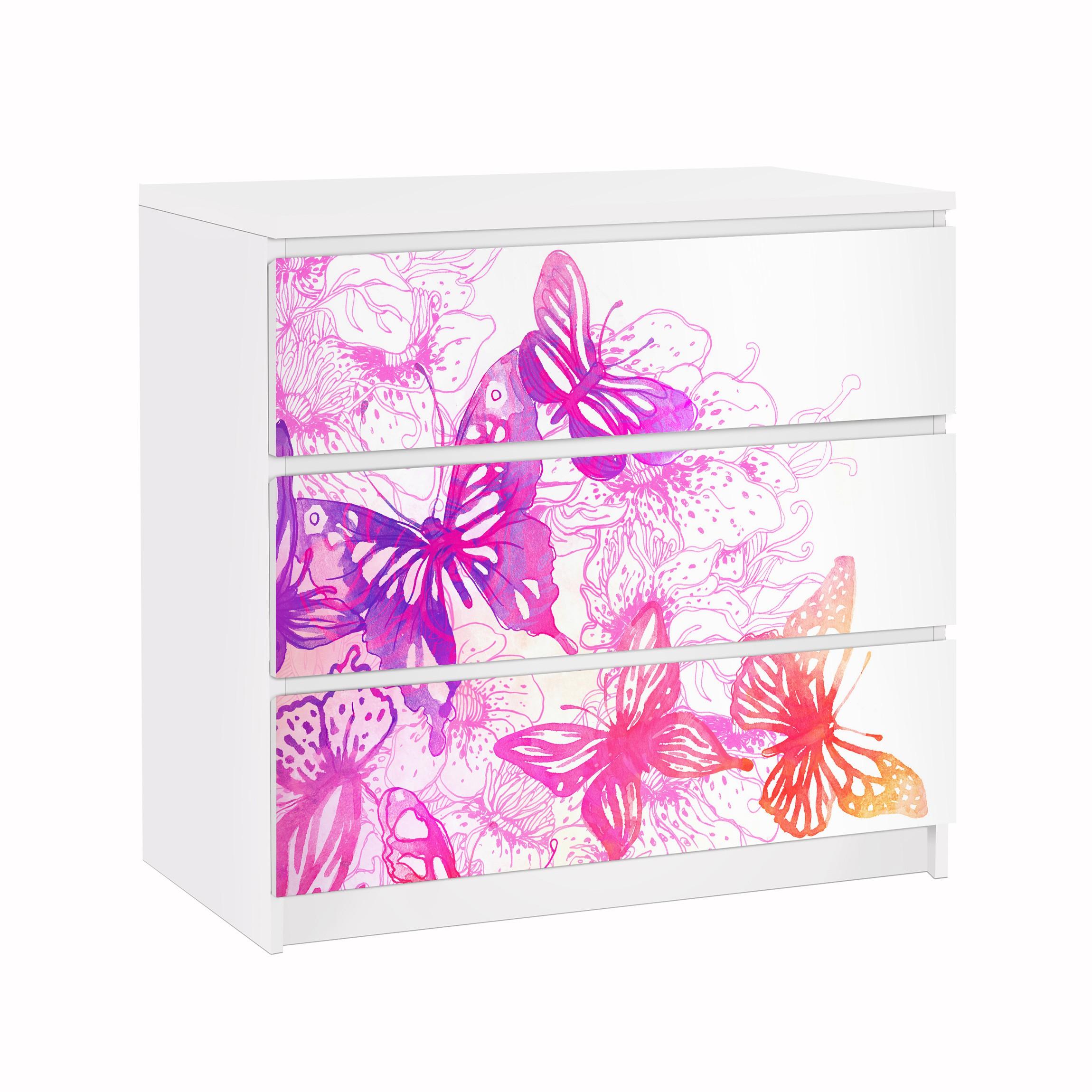 Carta adesiva per mobili ikea malm cassettiera 3xcassetti butterfly dream - Carta adesiva per mobili ikea ...