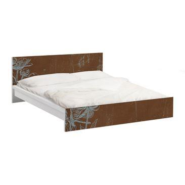 Immagine del prodotto Carta adesiva per mobili IKEA - Malm Letto basso 140x200cm Blue Flowers Sketch