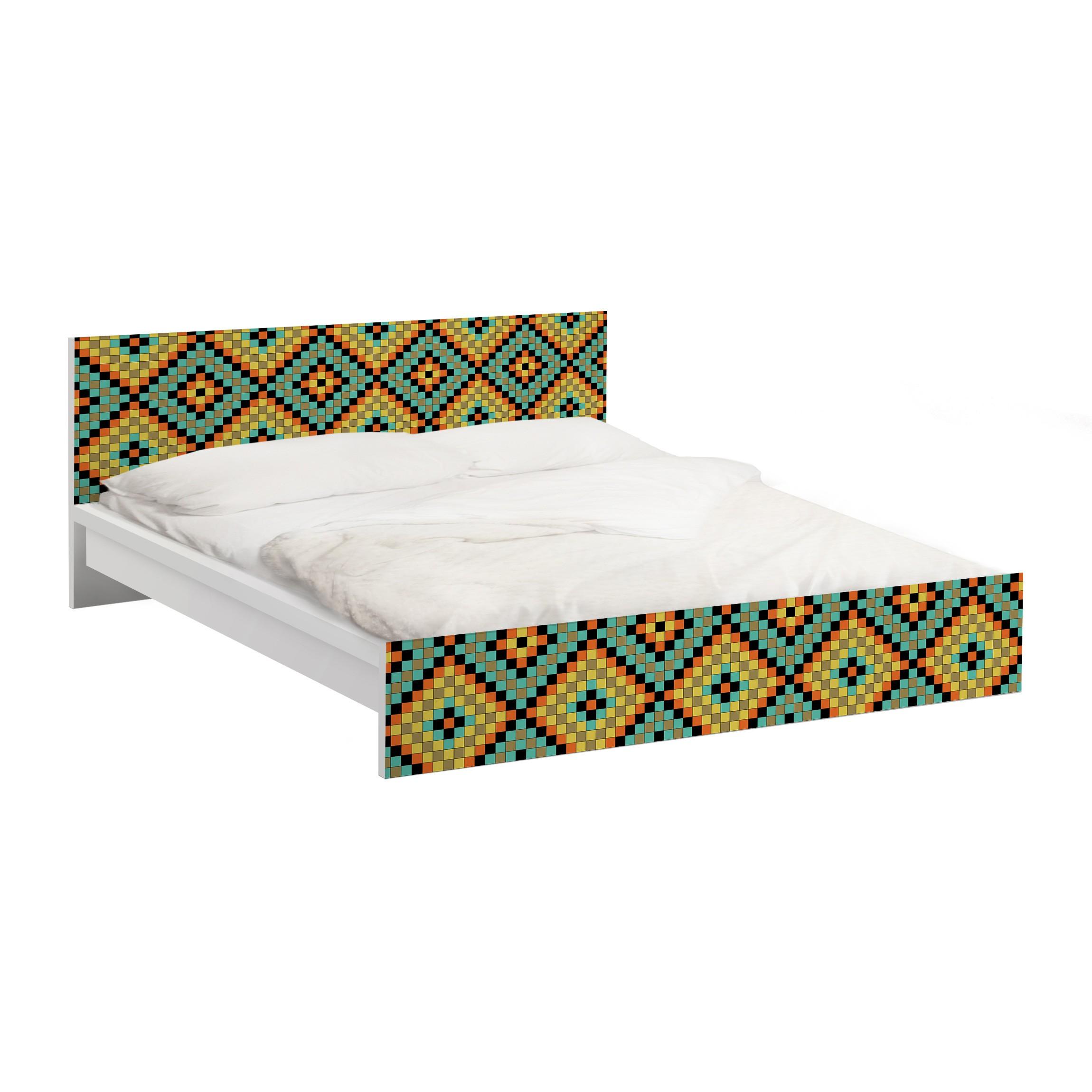 m belfolie f r ikea malm bett niedrig 140x200cm klebefolie buntes mosaik. Black Bedroom Furniture Sets. Home Design Ideas